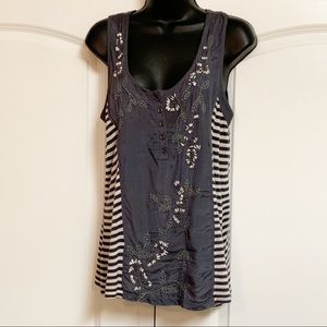 Anthro Deletta Blue Stripe Embroider Beaded Tank M